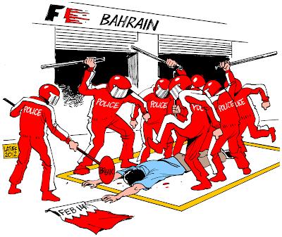 пит-стоп - карикатура Carlos Latuff на тему Гран-при Бахрейна 2012