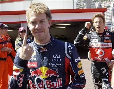 Дженсон Баттон следует за Себастьяном Феттелем после квалификации на Гран-при Монако 2011