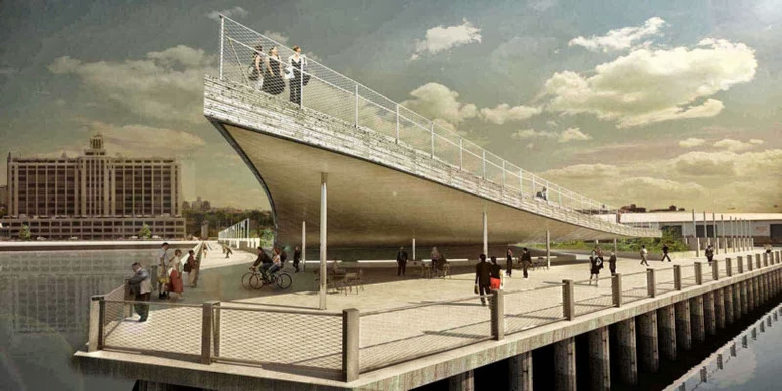 Brooklyn, New York, Stati Uniti: [BROOKLYN BRIDGE PARK PIER 6 VIEWING PLATFORM BY BIG]