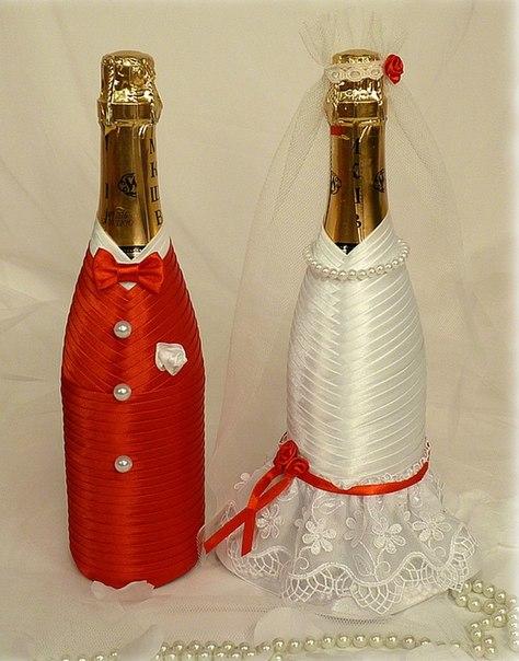 Бутылки шампанского на свадьбу своими руками мастер-класс