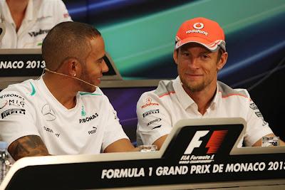 Льюис Хэмилтон и Дженсон Баттон на пресс-конференции в среду на Гран-при Монако 2013
