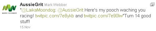 Марк Уэббер отвечает в твиттере болельщику