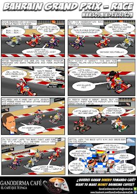 комикс MiniDrivers по гонке на Гран-при Бахрейна 2013