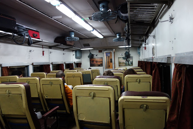 Business Class seats on the train to Agra.