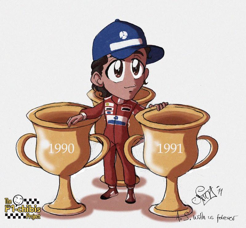 20-ая годовщина трех титулов Айртона Сенны - картинка Noe Izumi F1-chibis