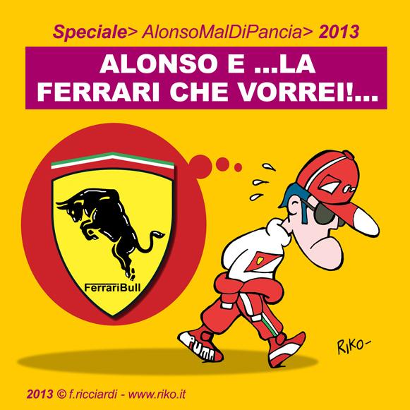 Фернандо Алонсо мечтает о быстрой Ferrari - комикс Riko