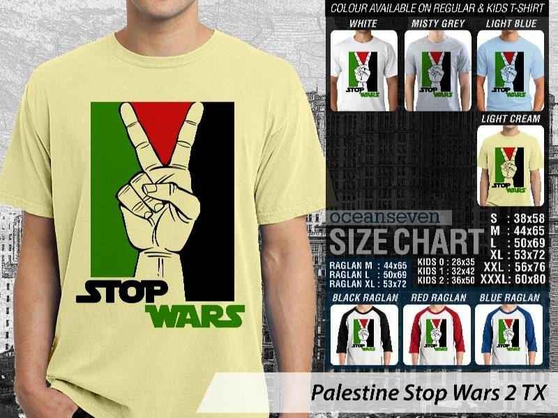 Kaos Muslim Islam Palestine Stop Wars 2 distro ocean seven