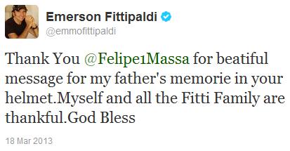 Эмерсон Фиттипальди благодарит Фелипе Массу в твиттере после Гран-при Австралии 2013