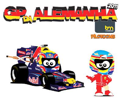 pilotoons Марк Уэббер Фернандо и Алонсо на Гран-при Германии 2011