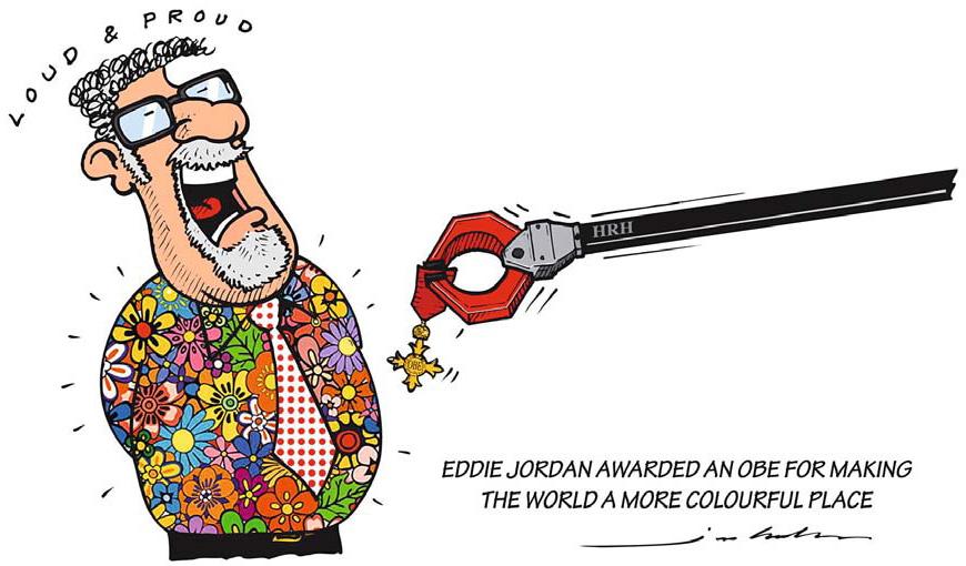 Эдди Джордан получает орден Офицера Британской Империи - комикс Jim Bamber