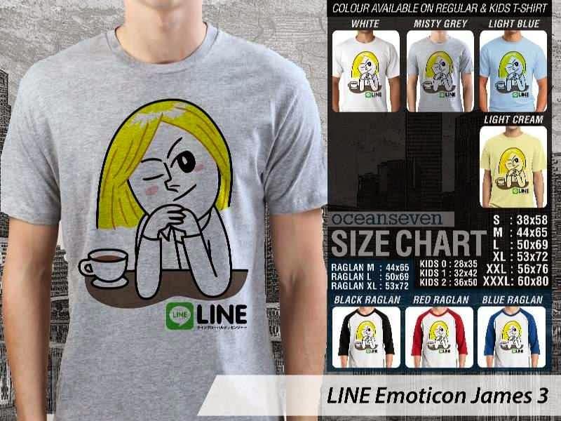 KAOS IT LINE Emoticon James 3 Social Media Chating distro ocean seven