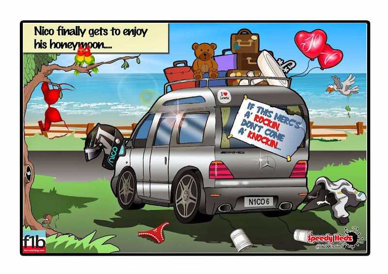Нико Росберг уезжает на медовый месяц в летний перерыв - комикс SpeedyHedz