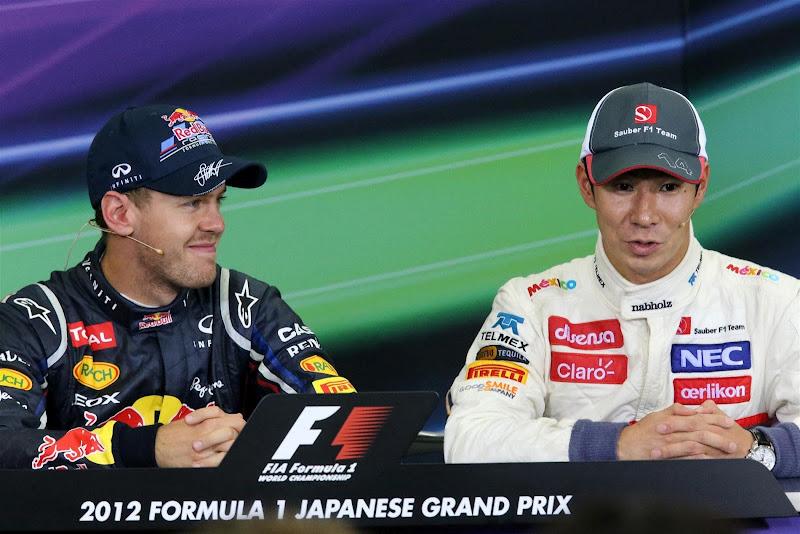 Себастьян Феттель и Камуи Кобаяши на пресс-конференции победителей и призеров на Гран-при Японии 2012