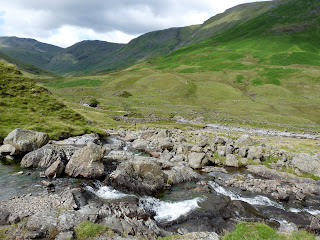 Stake Beck ... looking further up the Langstrath Valley. Allen Crags is on the horizon.