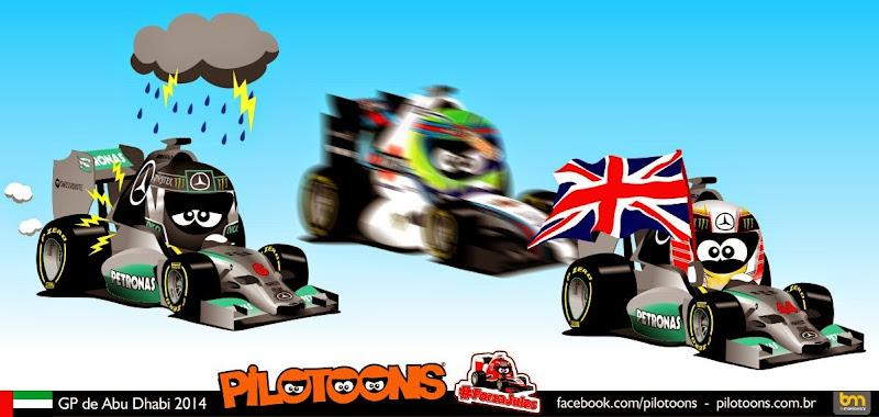 комикс pilotoons по Гран-при Абу-Даби 2014