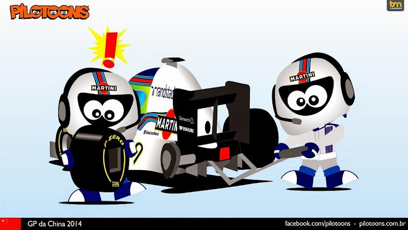 затянувшийся пит-стоп Фелипе Массы и Williams - комикс pilotoons по Гран-при Китая 2014