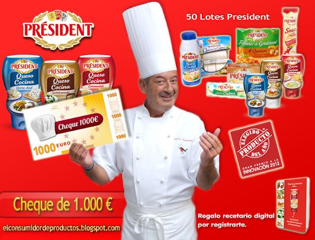 Concurso por sorteo Queso Cocina President Cheque 1000 Euros y un lote de productos gratis