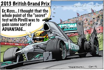 Льюис Хэмилтон взрывает покрышку Pirelli на Гран-при Великобритании 2013 - комикс Bruce Thomson