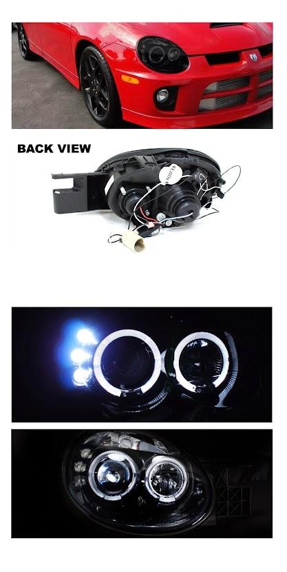 03 05 dodge neon srt4 angel eye halo led drl projector headlights bla