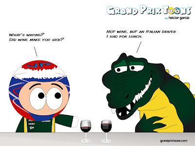 Виталий Петров и крокодил Caterham - комикс Grand Prix Toons