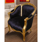 Grande bergère de style Louis XV tissu velours noir et bois doré