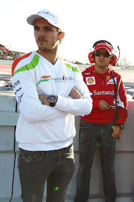 Жюль Бьянки и Фелипе Масса на предсезонных тестах 2012 в Барселоне 2 марта 2012