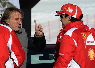 Лука ди Монтедземоло показывает палец Фелипе Массе на Wrooom 2012
