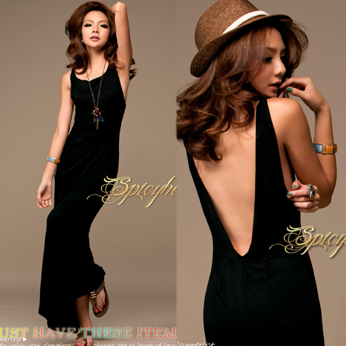 Vogue-Black-Sexy-Womens-Backless-Halter-Long-Maxi-Dress-Sleeveless-Casual-w6