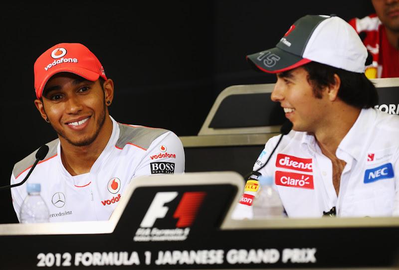 Льюис Хэмилтон и Серхио Перес на пресс-конференции в четверг на Гран-при Японии 2012