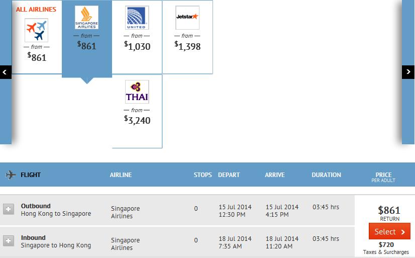 香港往來新加坡
