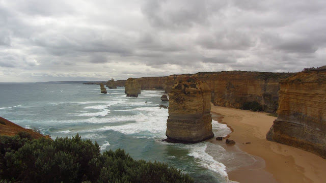 The limestone stacks are subject to constant erosion from the pounding ocean waves.