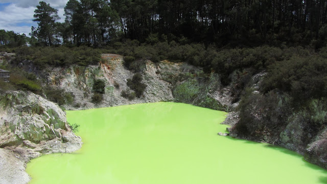 A bright green mineral lake at Wai-O-Tapu.