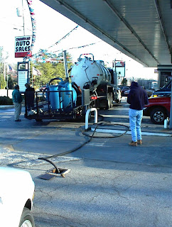 Enhanced Fluid Recovery (EFR) event at a contaminated gas station. The Vacuum truck pulls air and liquid from a well to remove gasoline contaminated groundwater along with vaporized gasoline in soils.