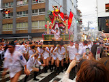 One of the Yamakasa race teams carrying their one ton float