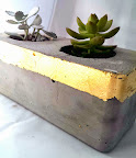 Concrete and gold planter and tea-light votive
