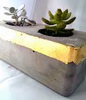 Concrete and gold planter and tea-light votive