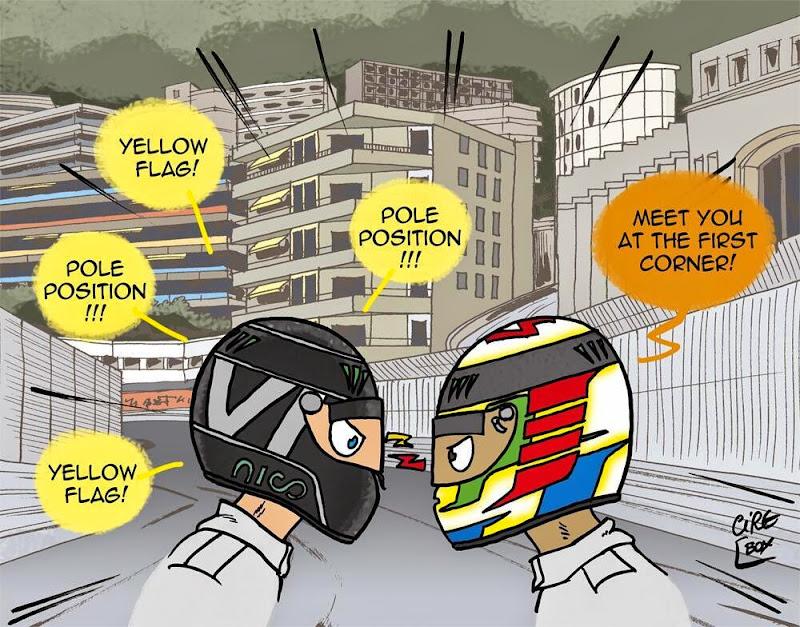 Нико Росберг настаивает на поуле против Льюиса Хэмилтона - комикс Cirebox после квалификации Гран-при Монако 2014