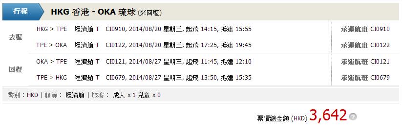 china airlines香港去沖繩