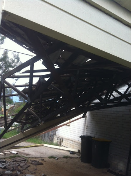 collapsed carport