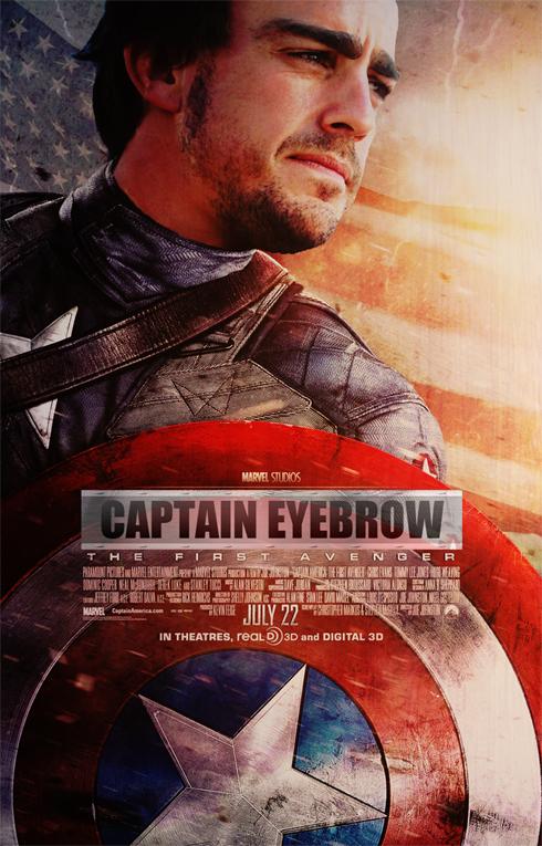 фотошоп Фернандо Алонсо в постере фильма Капитан Америка