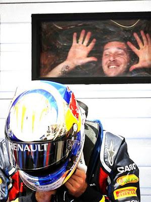 Себастьян Феттель на поуле на Гран-при Венгрии 2011