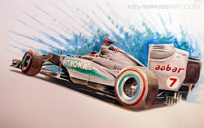 Михаэль Шумахер Mercedes - акварельный рисунок от Kevin Paige