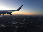 Manhattan in the distance as we leave JFK