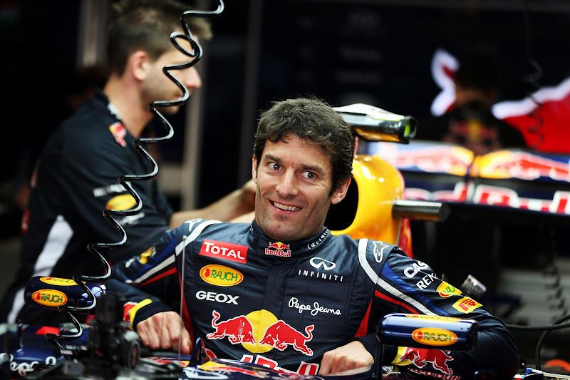 радостный Марк Уэббер в болиде Red Bull на Гран-при Индии 2012