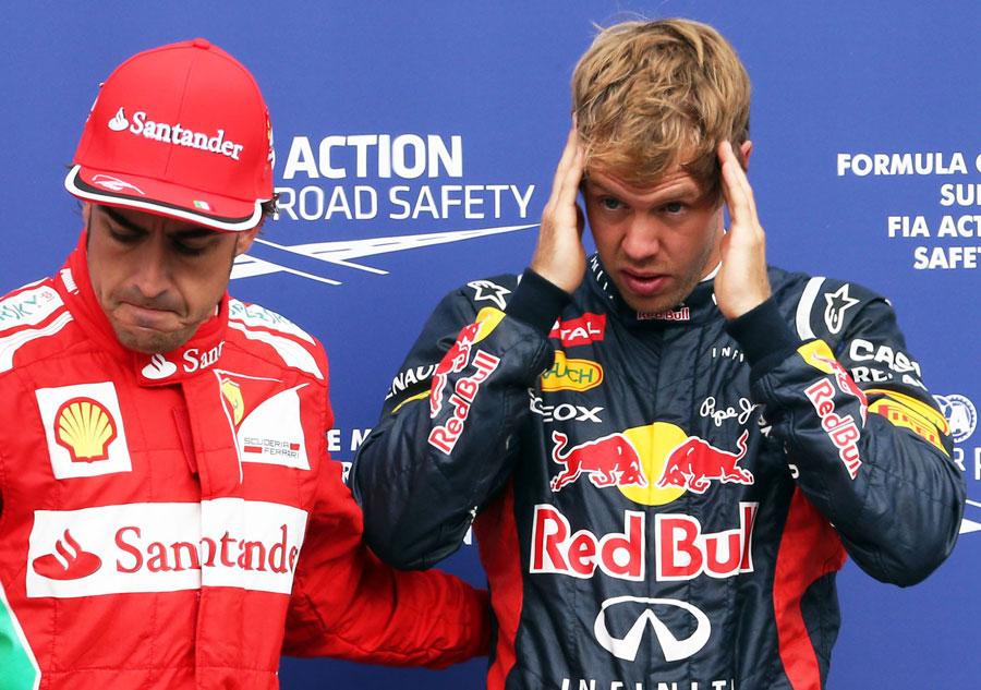 Фернандо Алонсо и Себастьян Феттель после квалификации на Гран-при Германии 2012