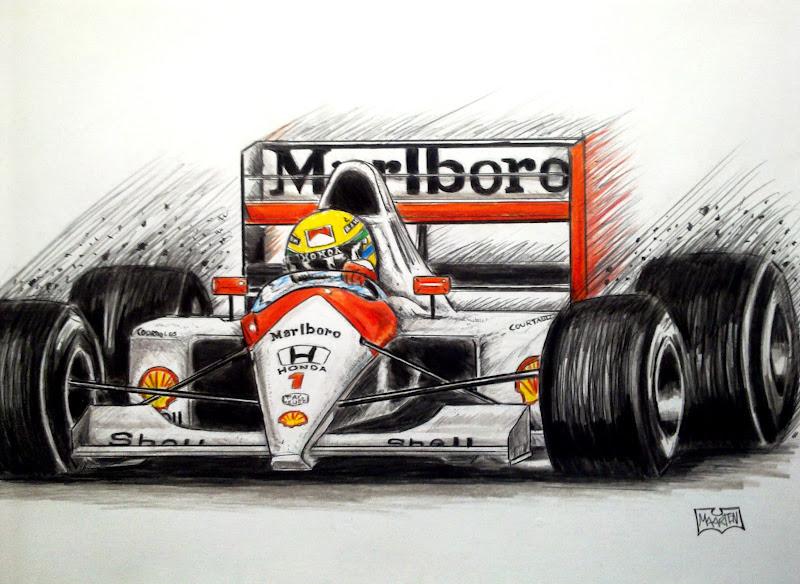 Айртон Сенна McLaren 1991 - рисунок Xpendable