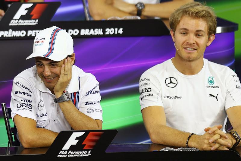 Фелипе Масса и Нико Росберг на пресс-конференции в четверг на Гран-при Бразилии 2014