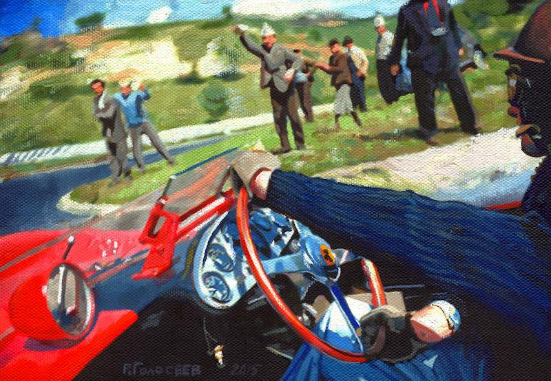 Питер Коллинз за рулем Феррари на Тарга Флорио в 1958 - рисунок Roman Goloseev