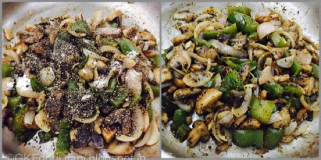 Mushroom Pepper Fry Recipe (Mushroom Recipes) - Kalan Milagu Varuval 7