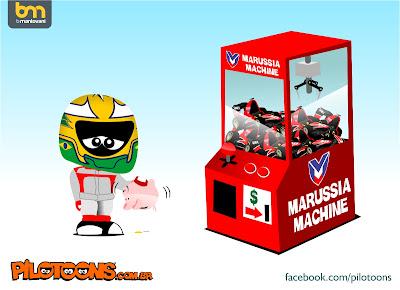 Луис Разия не попадает в Marussia - No pay no drive pilotoons 2013